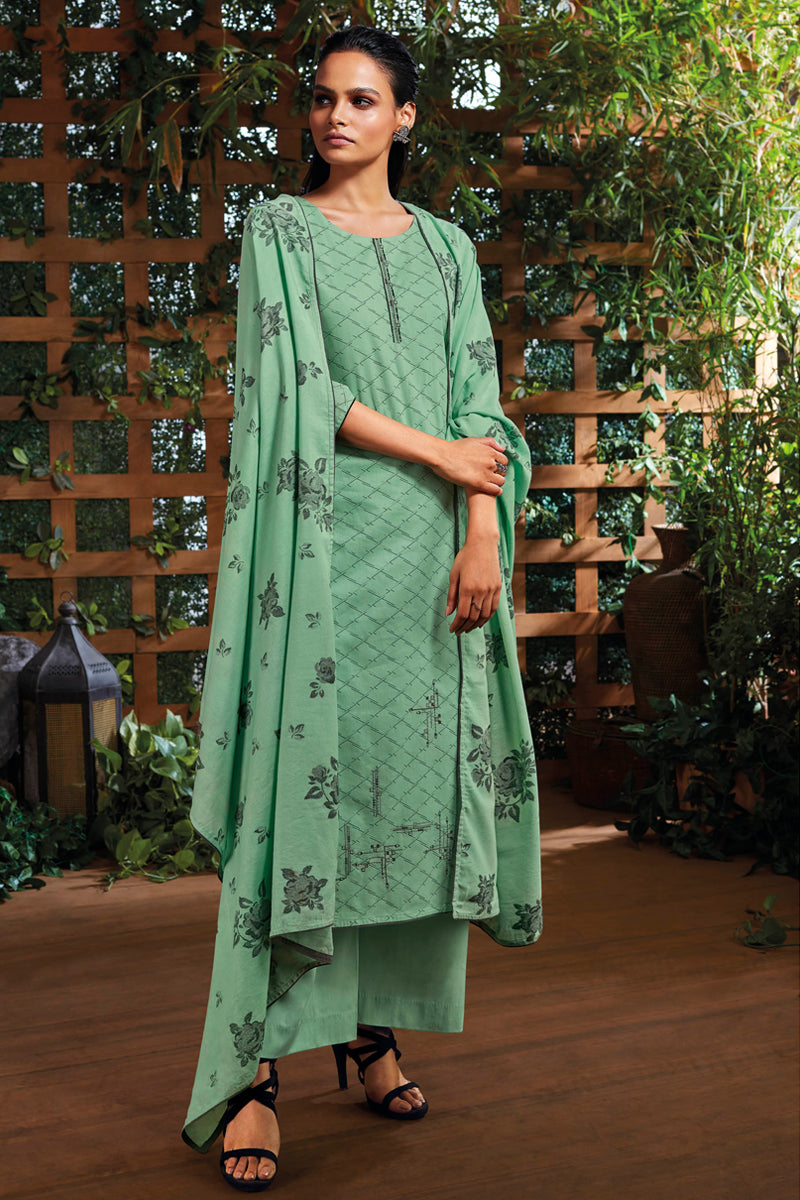 Teal Green Cotton Kurta with Jacquard Dupatta