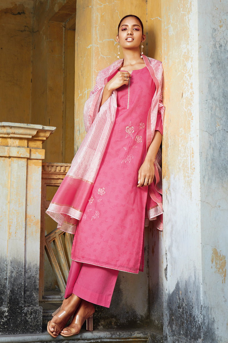 Pink Cotton Kurta with Silk Jacquard Dupatta