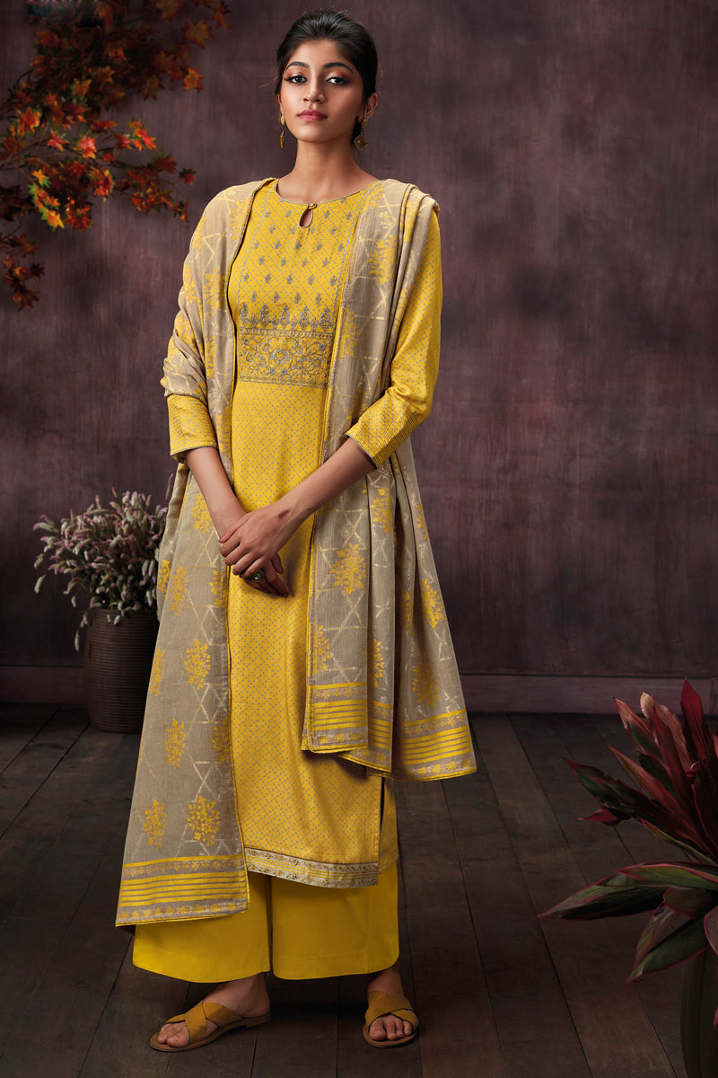 Yellow Cotton Printed Kurta with Jacquard Dupatta
