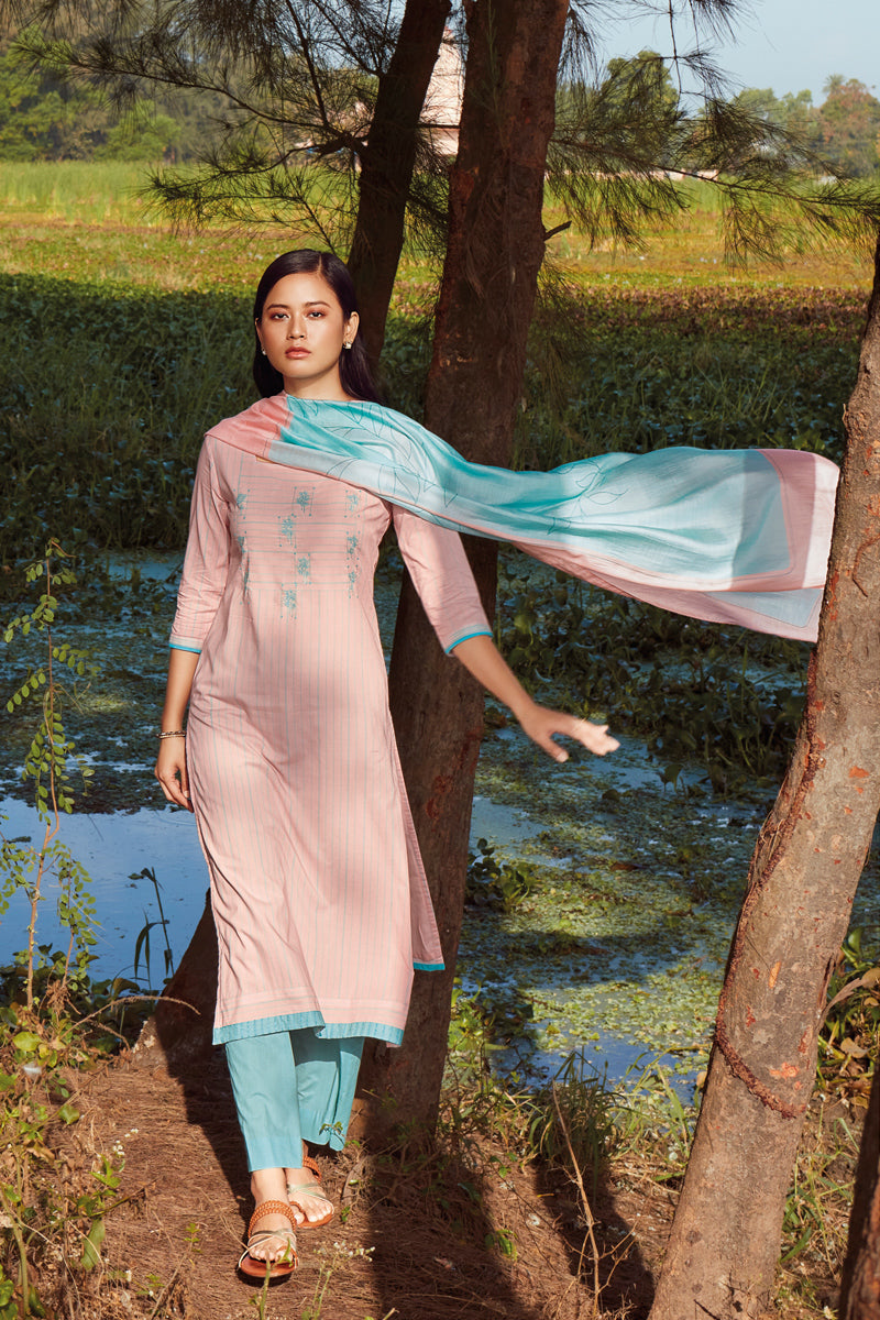 Pink Cotton Kurta with Bemberg Lawn Dupatta
