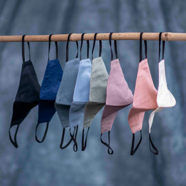 Set of 8 - High Quality Dyed Pure Cotton Satin Masks