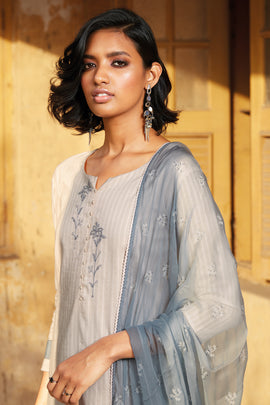Grey Cotton Jacquard Kurta
