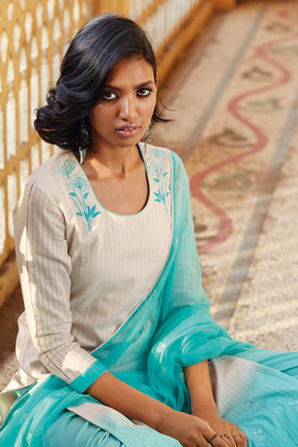 Blue Cotton Jacquard Kurta