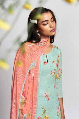 Blue Cotton Lawn Kurta with Chiffon Dupatta