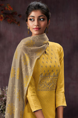 Yellow Cotton Printed Kurta
