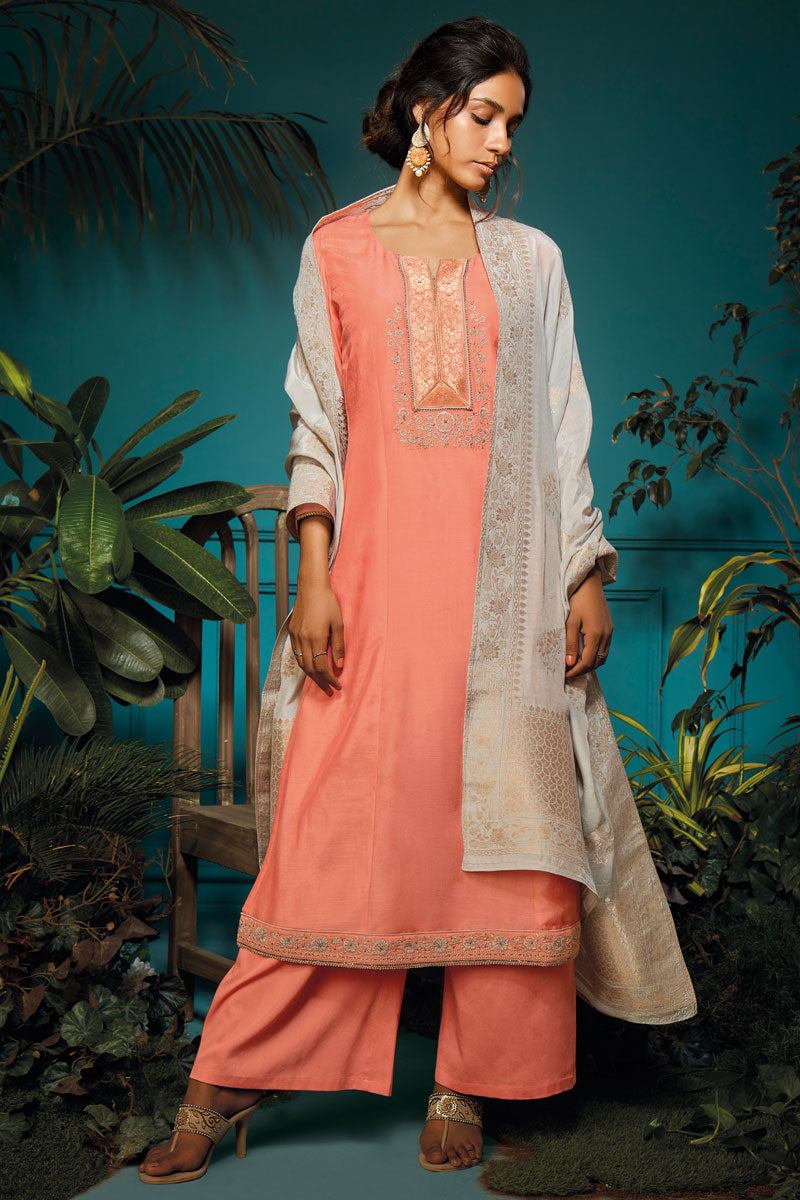 Bemberg Kurta with Jacquard Dupatta (Unstitched)