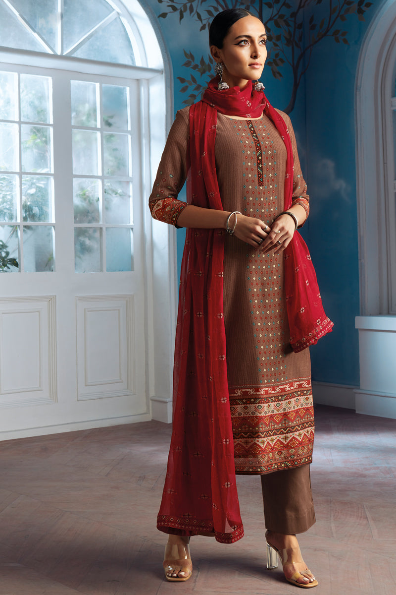 Brown Bemberg Silk Kurta with Chiffon Dupatta