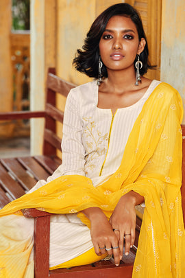 Yellow Cotton Jacquard Kurta