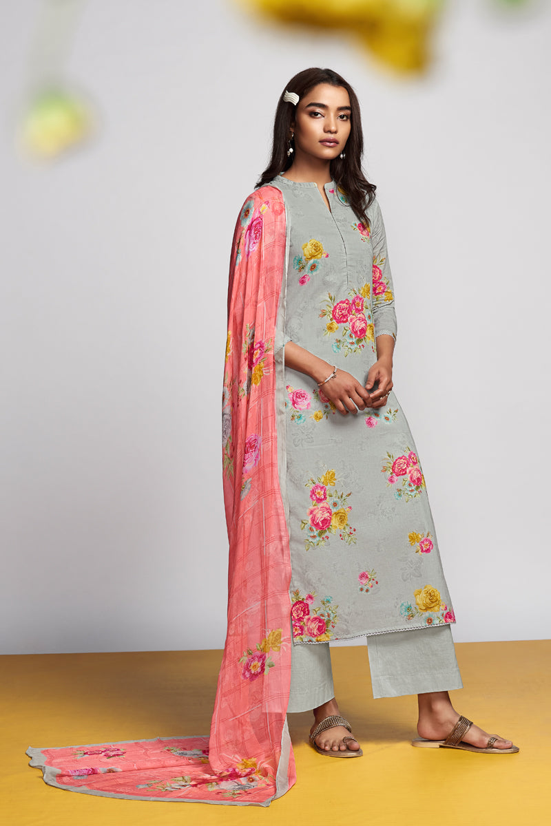Grey Cotton Lawn Kurta with Chiffon Dupatta