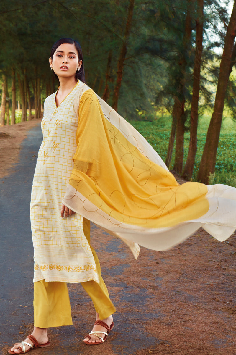 Yellow Cotton Kurta with Bemberg Lawn Dupatta