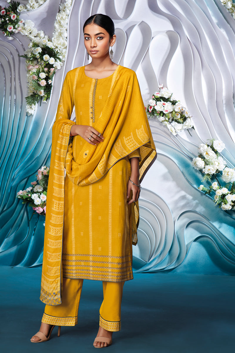 Yellow Bemberg Silk Kurta with Bemberg Lawn Dupatta