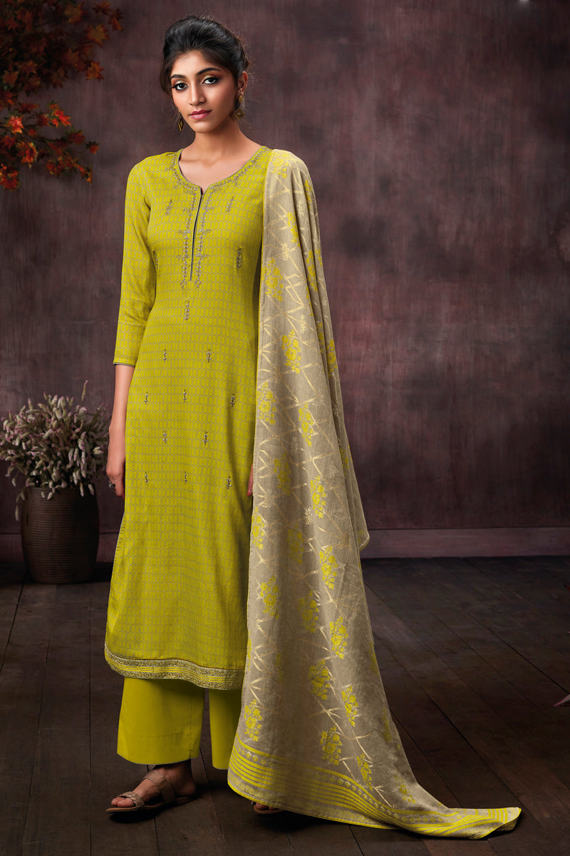 Green Cotton Printed Kurta with Jacquard Dupatta