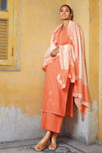 Load image into Gallery viewer, Orange Cotton Kurta with Silk Jacquard Dupatta