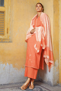 Orange Cotton Kurta with Silk Jacquard Dupatta