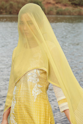 Yellow Summer Silk Kurta with Chiffon Dupatta