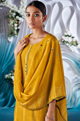 Yellow Bemberg Silk Kurta