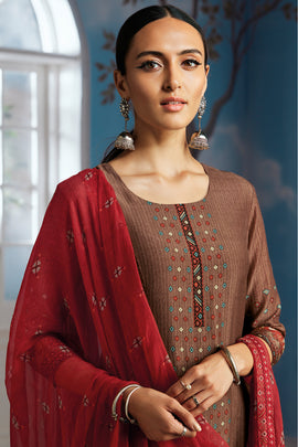 Brown Bemberg Silk Kurta