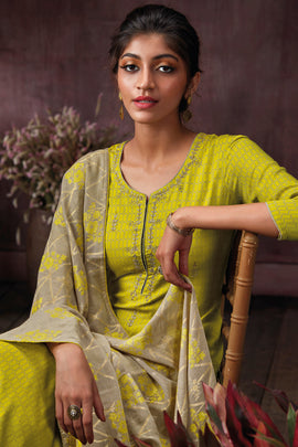 Green Cotton Printed Kurta