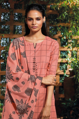 Pink Cotton Kurta with Jacquard Dupatta