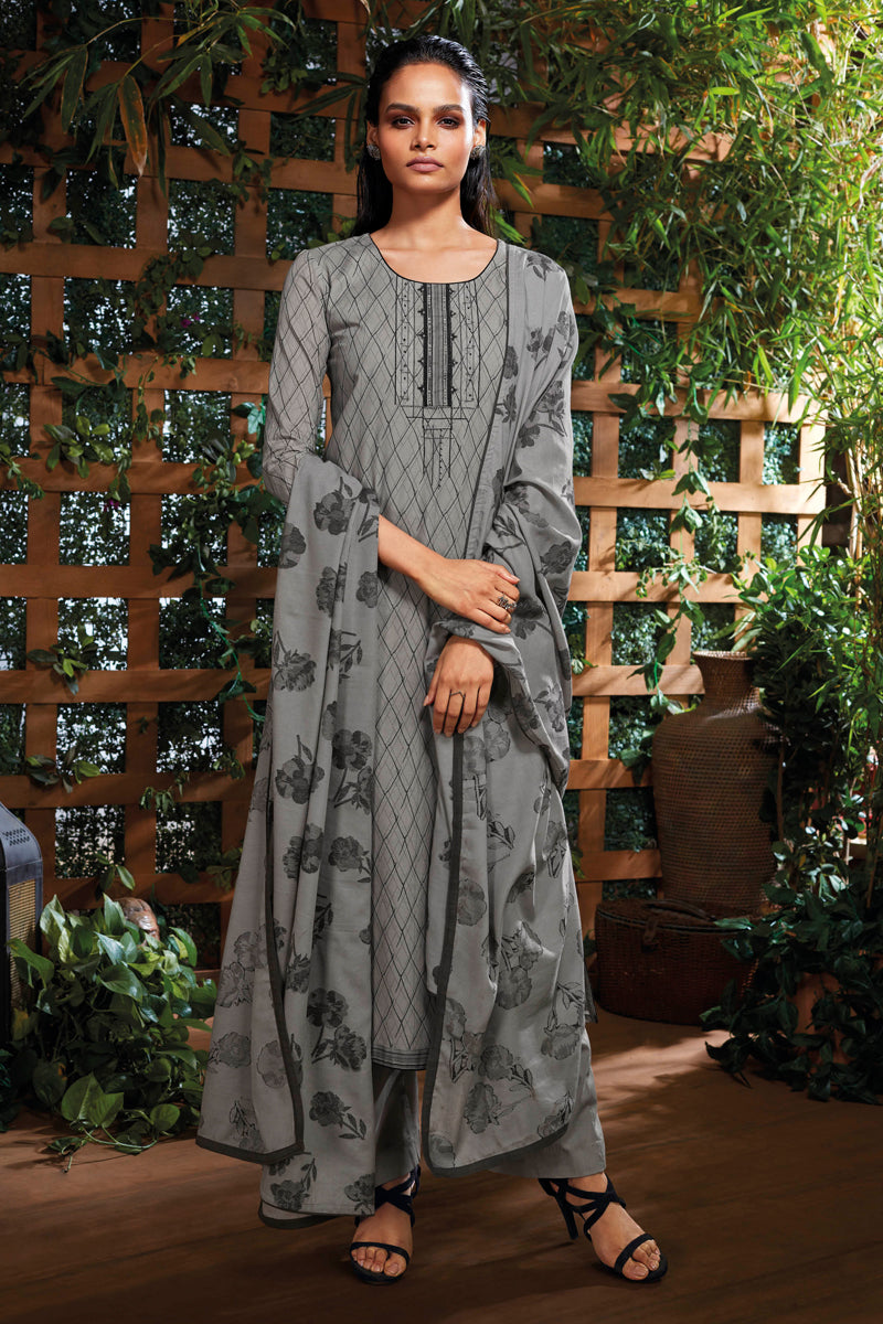 Grey Cotton Kurta with Jacquard Dupatta