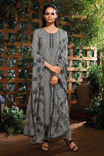Load image into Gallery viewer, Grey Cotton Kurta with Jacquard Dupatta