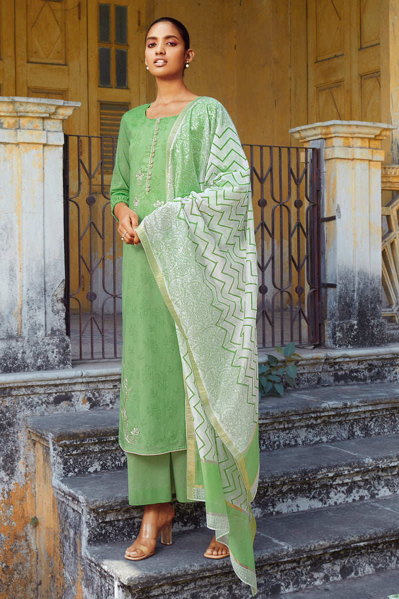 Green Cotton Kurta with Silk Jacquard Dupatta
