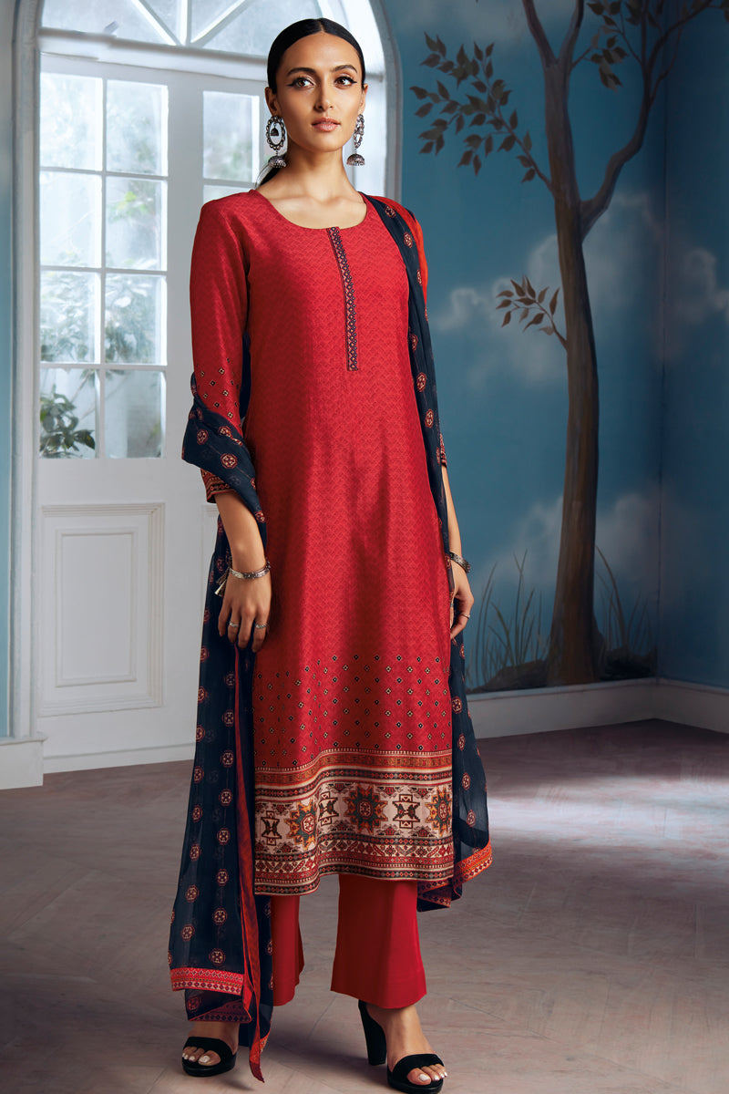 Red Bemberg Silk Kurta with Chiffon Dupatta