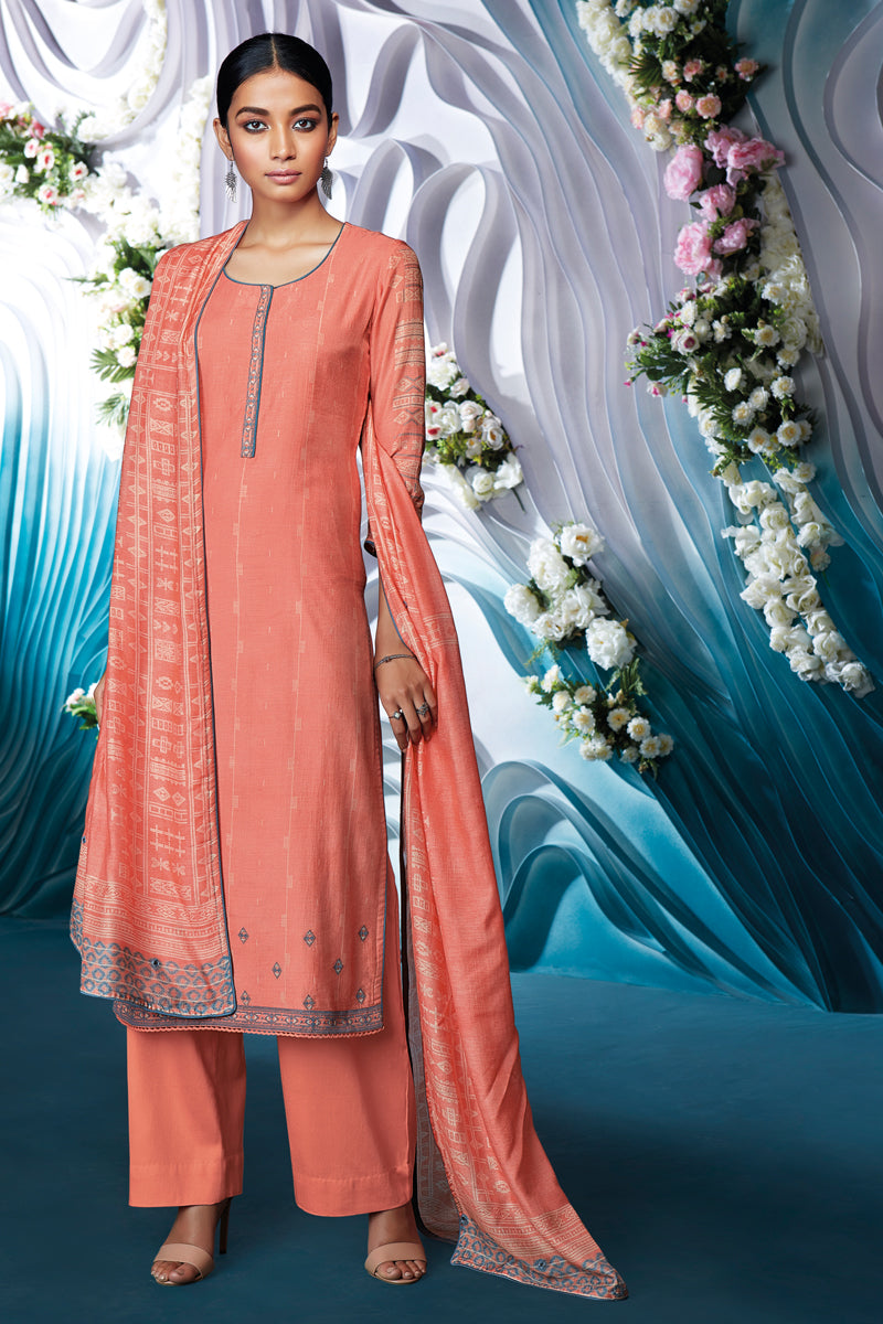 Orange Bemberg Silk Kurta with Bemberg Lawn Dupatta