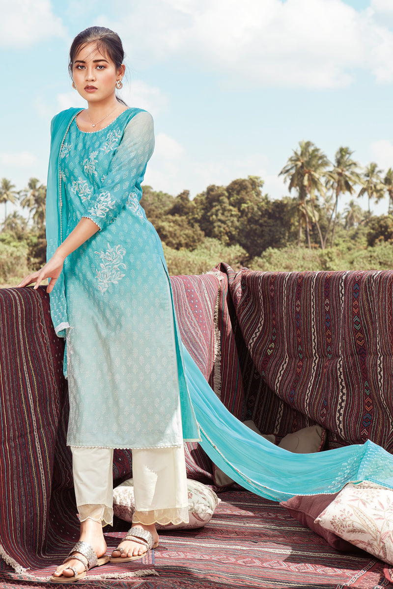 Blue Summer Silk Kurta with Chiffon Dupatta