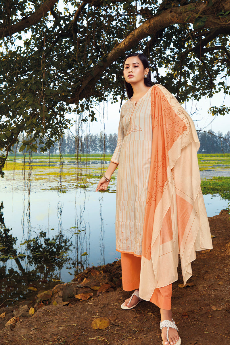 Orange Cotton Lawn Kurta Bemberg Lawn Dupatta