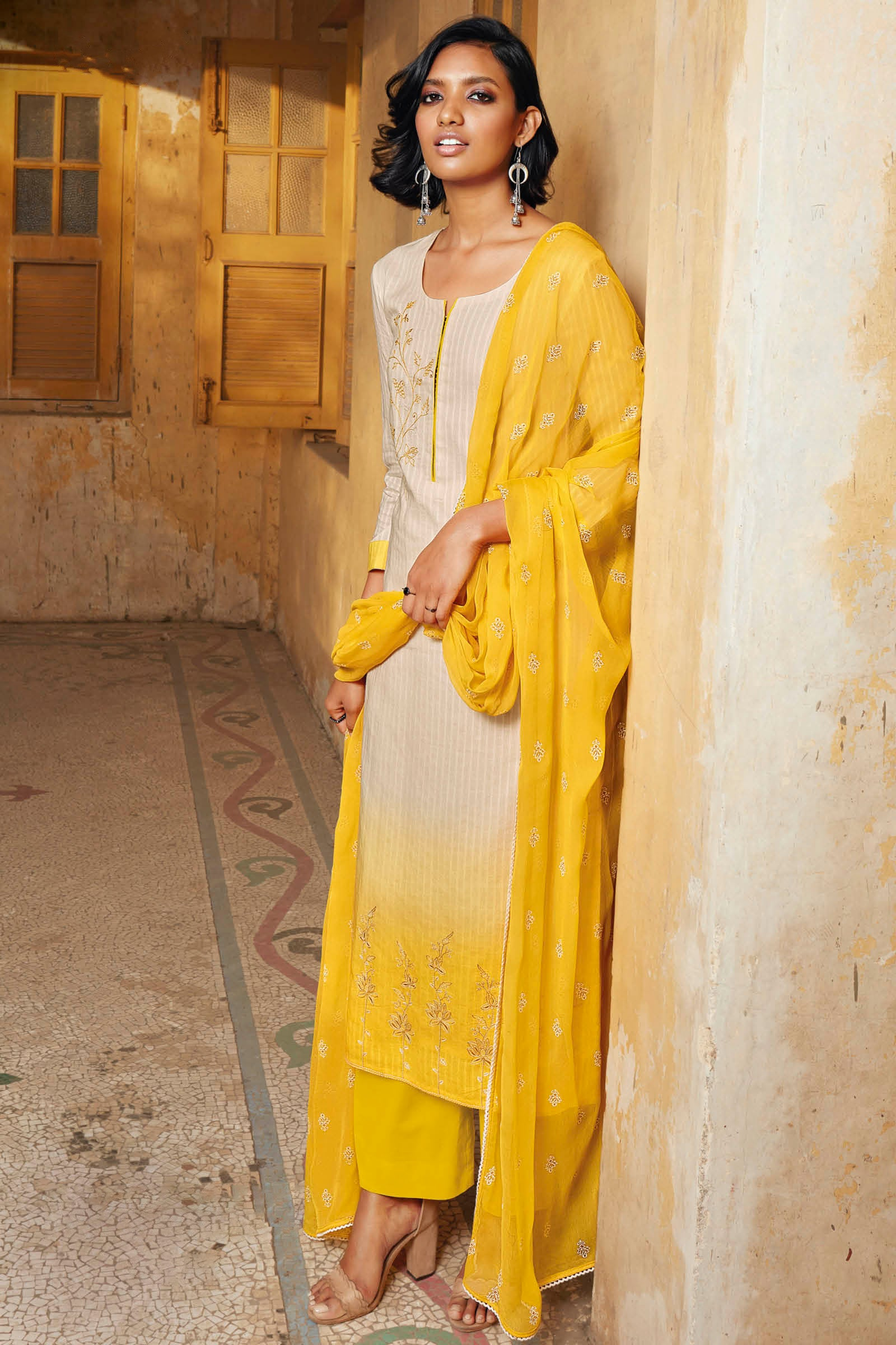 Yellow Cotton Jacquard Kurta with Bemberg Chiffon Dupatta