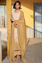 Load image into Gallery viewer, Beige Cotton Jacquard Kurta with Bemberg Chiffon Dupatta