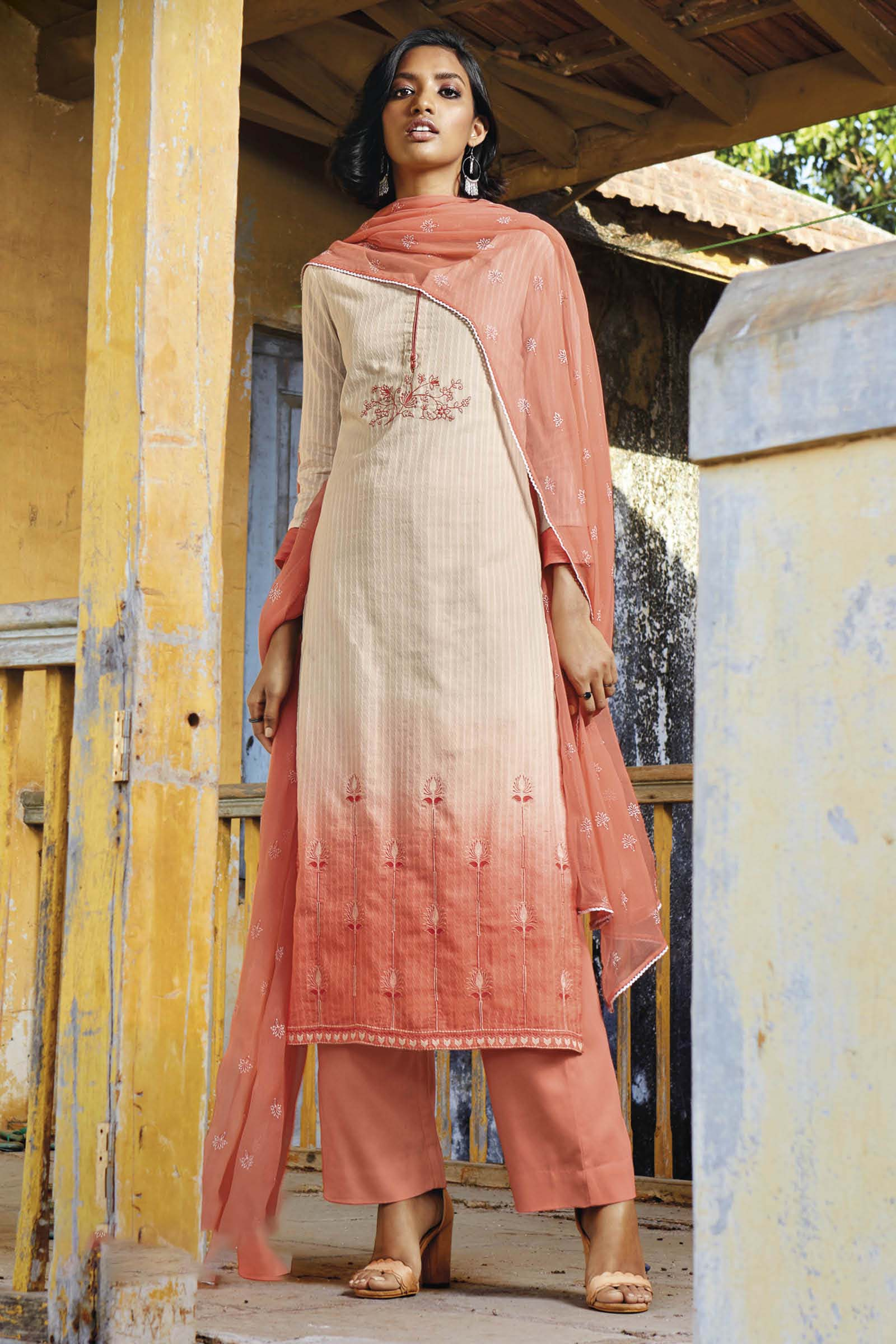Orange Cotton Jacquard Kurta with Bemberg Chiffon Dupatta