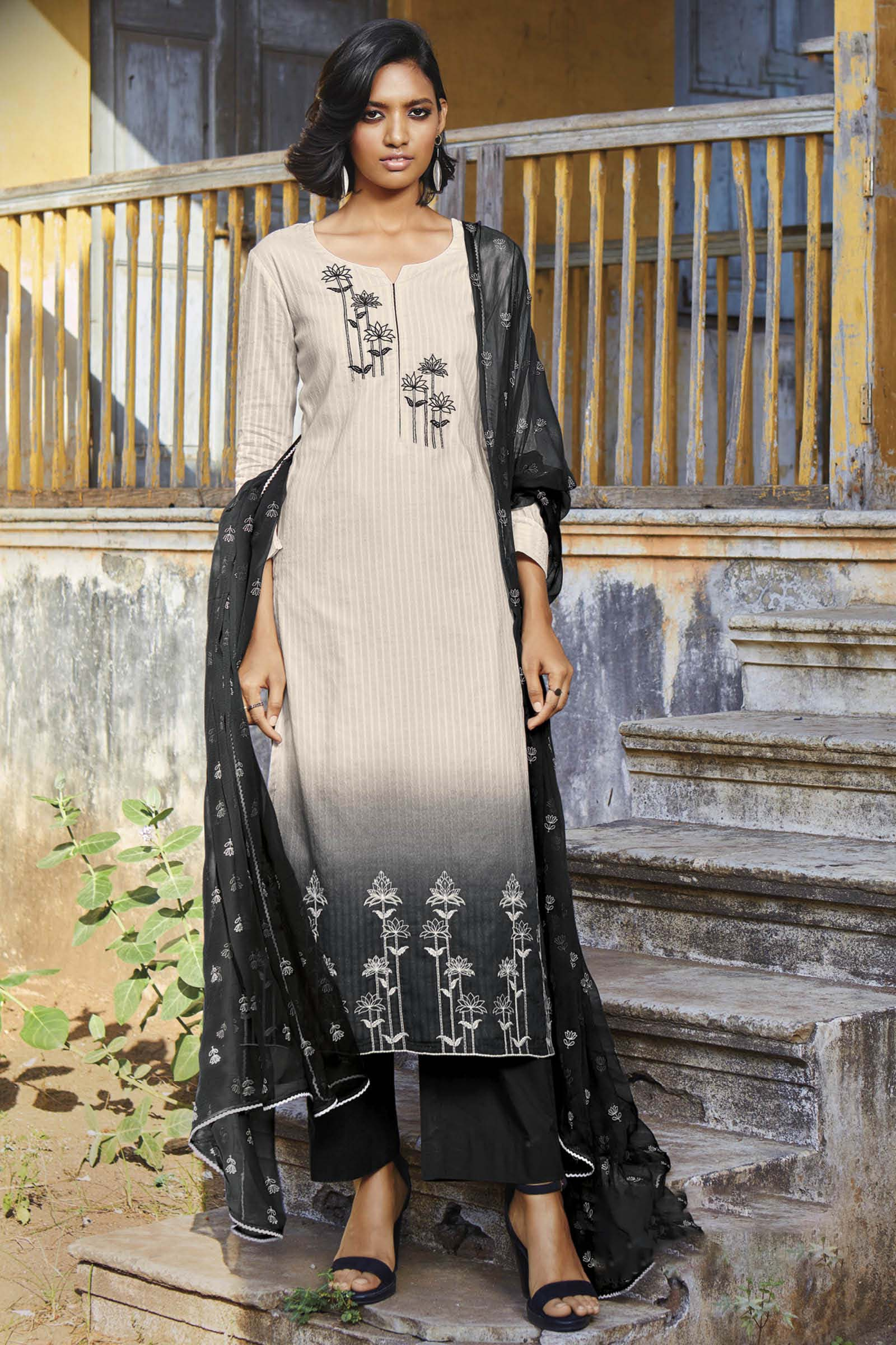 Black Cotton Jacquard Kurta with Bemberg Chiffon Dupatta