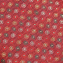 Load image into Gallery viewer, Red Circular Geometric Pattern Banarasi Fabric