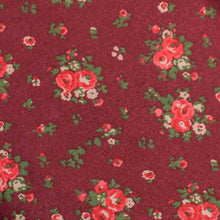 Load image into Gallery viewer, Maroon Floral Pattern Screen Printed Cotton Satin Fabric