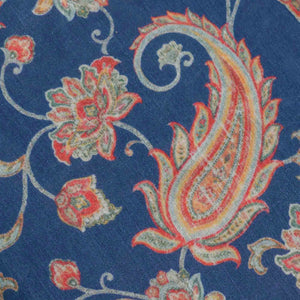 Blue Paisely Pattern Digital Print Muslin Fabric