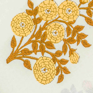 Yellow Floral Pattern Cotton Fabric
