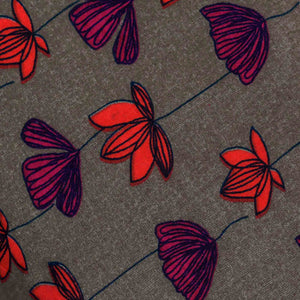 Purple & Orange Floral Pattern Rayon Fabric
