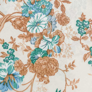 Teal Green Floral Pattern Cotton Fabric