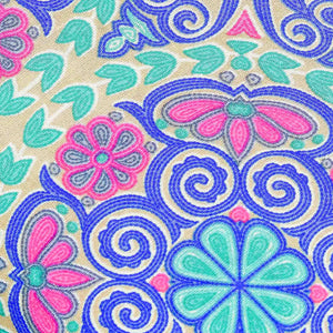 Blue Floral Pattern Rayon Fabric