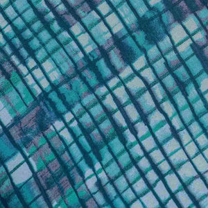 Blue Checks Pattern Rayon Fabric