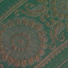 Load image into Gallery viewer, Green Floral Pattern Woven Zari Banarasi Fabric