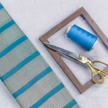 Load image into Gallery viewer, Blue Circular with Striped Pattern Woven Zari Banarasi Fabric