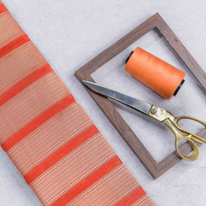 Orange Circular with Striped Pattern Woven Zari Banarasi Fabric