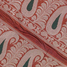 Load image into Gallery viewer, Red Paisely Pattern Woven Zari Banarasi Fabric