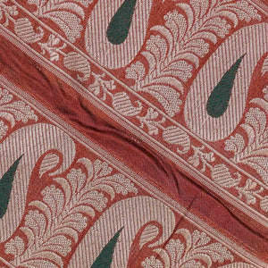 Red Paisely Pattern Woven Zari Banarasi Fabric