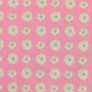 Pink Floral Pattern Screen Printed Cotton Fabric