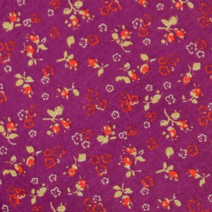 Purple Floral Pattern Screen Printed Cotton Fabric