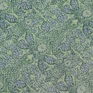 Green Rug Pattern Screen Printed Cotton Fabric